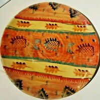 "Italica Ars 10.75"" Dinner Plate Pottery Hand Painted Stoneware Italy Orange Gold"