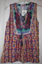NWT Design Recipe Boho Blu Ilaria Sleeveless Multi Women Aztec Top Size S Peek