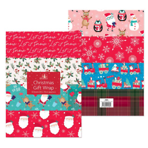 CHRISTMAS GIFT WRAP PACK OF 8 SHEETS ASSORTED WRAPPING PAPER TRAITIONAL