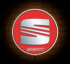 SEAT BADGE SIGN LED LIGHT BOX MAN CAVE GARAGE WORKSHOP GAMES ROOM BOY GIFT