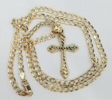 "Real 10k Yellow Gold Cross Crucifix Jesus Pendant Charm Nugget + 20"" Cuban Chain"