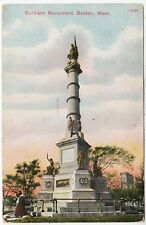 BOSTON - Massachusetts  - Soldiers Monument War Memorial -  c1900s era postcard