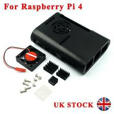 Black ABS Case Enclosure With Heatsink Cooling Fan For Raspberry Pi 4 Model B