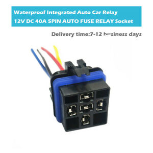 DC 12V 40A 5 Pin SPDT Waterproof Integrated Relay Socket Wire Harness Connector