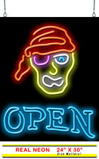 "Pirate with Open Neon Sign | Jantec | 24""x 30"" 