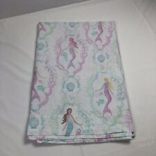 Pottery Barn Kids Bailey Mermaid Twin Size Flat Sheet Mermaids White Purple Pink