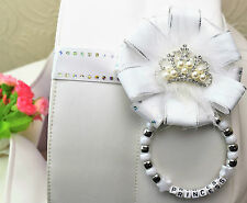 Personalised stunning magnetic pram charm corsage  with pearl crown