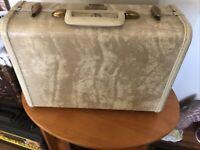 "Vintage Small Samsonite Suitcase 15"" Luggage Marbled cream color no key"