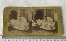 Man Climbing Into Bed + Wife Antique Victorian GROUP SERIES Stereoview Photo