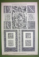TYPOGRAPHIC Ornaments Renaissance Monograms FLorals - 1880s Antique Litho Print