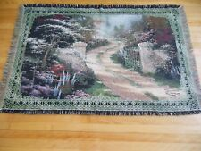 THOMAS KINKADE Tapestry Cotton Throw Blanket Woven w/Fringe 68'' x 45.5''