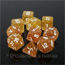 NEW 10 Yellow Orange Glitter D&D RPG Game Dice Set in Tube D20 D12 D10 D8 D6 D4+