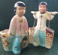 Vtg Asian Couple Planters * Carrying Baskets * Yoke * Hand Painted