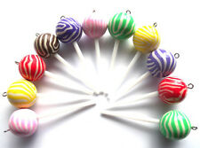 NEW!! GORGEOUS LOLLIPOP CHARMS POLYMER CLAY FIMO - INCLUDES FAST FREE SHIPPING