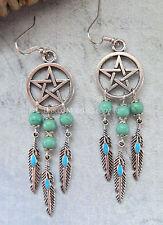 Pentagram/Pentacle Dreamcatcher Howlite/Feather Drop Earrings Tribal/Boho UK