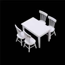 1:12 Wooden Kitchen Dining Table With 4 Chairs Set Barbie Dollhouse Furniture NI
