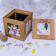 Personalised Oak Photo Cube - Mr/Mrs Infinity Sign - Bride & Groom Wedding Gift