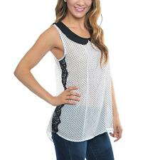 Collared Polyester Sleeveless Blouses for Women