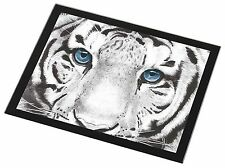 Siberian White Tiger Black Rim Glass Placemat Animal Table Gift, AT-11GP
