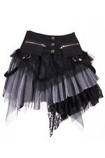 Gothic Steampunk Minirock Schwarz/Grau Petticoat Skirt Gr. XS-L Rock RQ-BL 21034