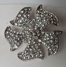 clear diamonds.4cm diameter flower petal brooch with