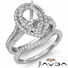 Diamond Engagement Ring Semi Mount Bridal Set Platinum 950 Wedding Band 2.2Ct