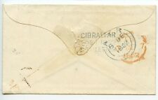 GIBRALTAR 1852 Small Stampless cover blue 3-line GIBRALTAR SHIPLETTER to Ayr