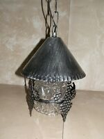 Lanterna in ferro tonda con vetro e catena da esterno porticato veranda legno