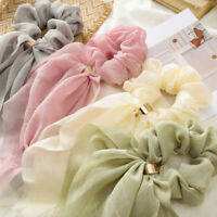 Women Elastic Scrunchie Ponytail Holder Hair Rope Chiffon Bow Ribbon