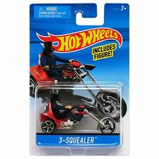 Hot Wheels 1:64 Scale Die-cast 3-SQUEALER Motorcycle with Rider (X2088)