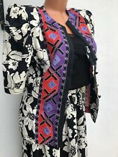 Lillie Rubin Vtg Jacket Top Skirt 2 Piece Set White Black Floral 1980's Size S