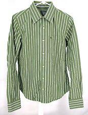 Abercrombie & Fitch Shirt Sz S Sage Green White Stripe Cotton Button Small Mens