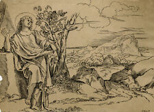 Antique Master Print-LANDSCAPE-SAINT-EARLY LITHOGRAPHY-Carracci-Strixner-c. 1811