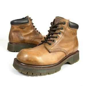 Dr Martens DMs Waterproof Brown Leather Ankle Boots Vintage MADE IN ENGLAND UK 7