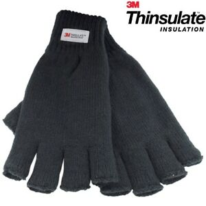Mens Knitted Gloves 3M Thinsulate Lined FINGERLESS Thermal Winter Wooly Work