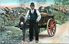 Raphael Tuck Irish Life Going to Market 4412 Man w Donkey Cart 1910 Postcard
