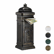 Boîte aux lettres anglaise sur pied Alu colonne vintage nostalgie noir