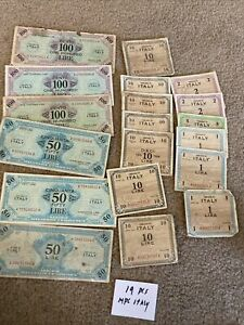 Lot Of 19 Allied Military Payment WWII Italy 1 Lira To 100 Lire Notes