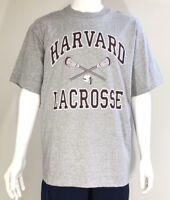Harvard Crimson Men's NCAA Lacrosse T-Shirt Tee Grey Size L Made in USA NWT.