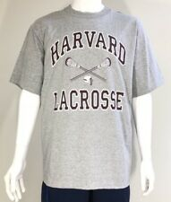 Harvard Crimson Men's NCAA Lacrosse T-Shirt Tee Grey Size L Made in USA NWT.