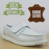 DEK Bowls Unisex Leather Lawn Bowls Trainers White Comfort Men's & Women's Shoes