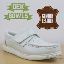 DEK Bowls Unisex Leather Lawn Bowls Trainers White Comfort Men's & Women's Shoes