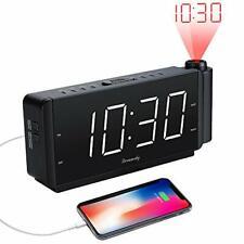 Projection Alarm Clock Radio with USB Charging Port and FM Radio - White Digit
