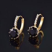 Womens 24k Yellow Gold Filled Black Sapphire Crystal Hoop Earrings Jewelry