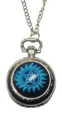 Supernatural TV Show Blue Pentagram Silvertone Pendant Pocket Watch