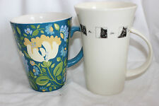 2 Mug Cup Kim Parker Home Spode Chicory Hymn Flowers Cats Baytree