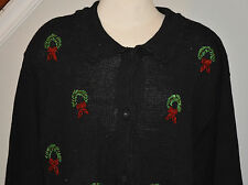 Ugly Christmas Sweater Size 1X Black Wreaths Beaded Cardigan
