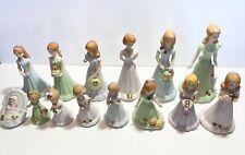 Enesco Vintage Growing-Up Birthday Girls, Set of 14 Figurines Porcelain.