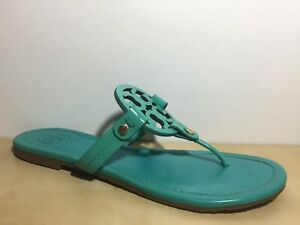 Tory Burch Turquoise Leather Miller Sandal Thong Flat US 7.5 M