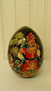 Details about  /Ukraine Wood Laquer Egg Winter Scene Signed by Artist Handcrafted